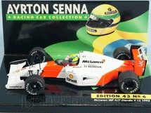 1. Brinquedos antigos - Minichamps - McLaren Honda MP4/7 V12 Piloto Ayrton Senna Ano 1992
