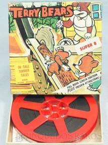 1. Brinquedos antigos - Ken Filmes Inc. - Desenho Animado Super 8 Terry Bears Tall Timber Tales preto e branco mudo Década de 1960