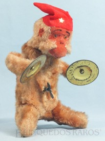 1. Brinquedos antigos - Sem identificação - Macaco tocando Címbalos com 19,00 cm de altura Década de 1960