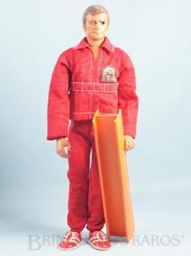 1. Brinquedos antigos - Kenner - Boneco Ciborg Homem de Seis Milhões de Dólares The Six Million Dollar Man completo com Viga e 3 itens Ano 1973