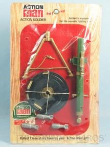 1. Brinquedos antigos - Palitoy - Conjunto Action Man Mortar Set com 4 itens Morteiro Falcon Cartela Lacrada Ano 1967