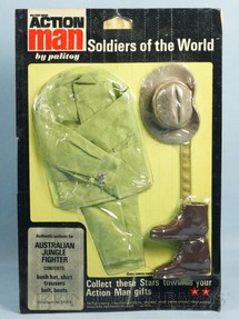 1. Brinquedos antigos - Palitoy - Conjunto Action Man Australian Jungle Fighter Série Soldiers of the World com 5 itens Falcon Cartela Lacrada Ano 1970