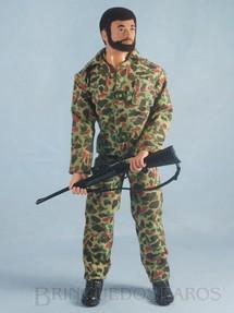 1. Brinquedos antigos - Estrela - Boneco Falcon moreno com barba Ação Camuflada completo com 4 Itens Edição 1977