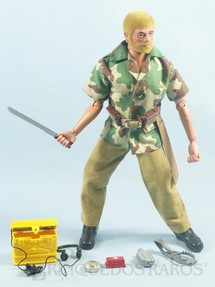 1. Brinquedos antigos - Estrela - Falcon Aventura Luta Selvagem Sobrevivendo no Inferno Verde completo com 12 Itens Edição 1977