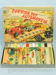 1. Brinquedos antigos - Estrela - Jogo Corrida dos Automóveis completo com 6 carrinhos plásticos Ano 1948