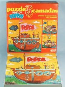 1. Brinquedos antigos - Tchan - Quebra Cabeça com três camadas Navio do Popeye Década de 1980