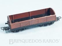 1. Brinquedos antigos - Atma - Vagão Gôndola Marrom com dois trucks Corrente Alternada Atma Mirim Década de 1950