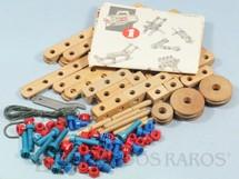 1. Brinquedos antigos - Estrela - Conjunto de Montar Monte-Bras caixa número 3 completa com 108 peças e Folhetos de Instrução Década de 1960