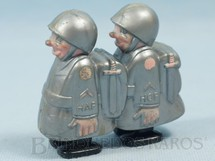 1. Brinquedos antigos - Marx - Soldados Hap Hop com 7,00 cm de altura Movimento por gravidade Versão cinza Década de 1950