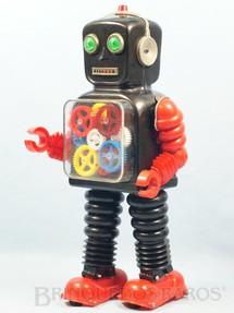 1. Brinquedos antigos - Taiyo - Robot com engrenagens no peito Blink-a-Gear Robot 37,00 cm de altura Década de 1970