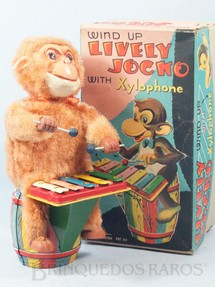 1. Brinquedos antigos - Fuji Press Kogyosho - Macaco tocando Xilofone Lively Jocko With Xylophone 22,00 Cm de altura Década de 1950