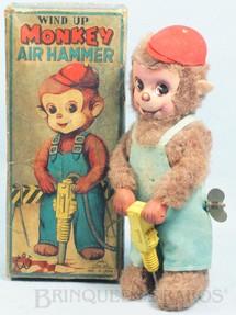 1. Brinquedos antigos - Fuji Press Kogyosho - Macaco com Britadeira Monkey Air Hummer 19,00 Cm de altura Década de 1960