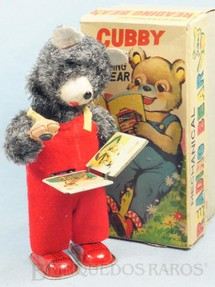 1. Brinquedos antigos - Alps - Urso lendo Livro Cubby the Reading Bear 19 Cm de altura Década de 1960