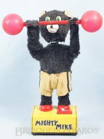 1. Brinquedos antigos - K - Urso Halterofilista Mighty Mike Bear 28,00 cm de altura Década de 1960