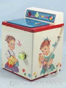 1. Brinquedos antigos - Metalma - Máquina de Lavar Roupa de Bonecas funciona com água 17,00 Cm de altura Década de 1970