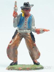 1. Brinquedos antigos - Casablanca e Gulliver - Cowboy de pé com dois revolveres Cowboy Kid Kansas Casablanca Numerado 17 Década de 1960