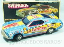 Brinquedos Antigos - T.P.S. - Ford Mustang Mach I The Swinger azul Sistema Cavalo de Pau 27,00 cm de comprimento D�cada de 1970  RESERVED***MR***