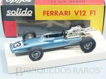 1. Brinquedos antigos - Solido-Brosol - Ferrari V12 Fórmula 1 azul metálica Fabricada pela Brosol Solido brésilienne Datada 6-1968