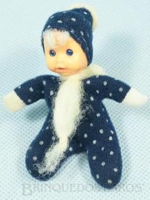 1. Brinquedos antigos - Trol - Fofolete com olhos de plástico 6,00 Cm de altura Azul escuro com bolinhas brancas Década de 1970