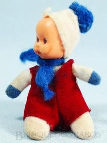 1. Brinquedos antigos - Trol - Fofolete com olhos de plástico 6,00 Cm de altura Branca com Macacão vermelho Década de 1970
