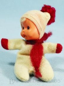1. Brinquedos antigos - Trol - Fofolete com olhos de plástico 6,00 Cm de altura Branca e vermelho Década de 1970