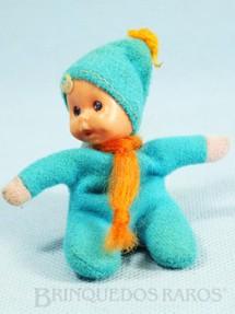 1. Brinquedos antigos - Trol - Fofolete com olhos de plástico 6,00 Cm de altura Azul Claro Década de 1970