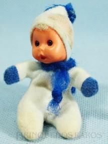 1. Brinquedos antigos - Trol - Fofolete com olhos de plástico 6,00 Cm de altura Branca e azul Década de 1970