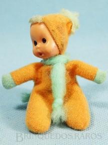 1. Brinquedos antigos - Trol - Fofolete com olhos de plástico 6,00 Cm de altura Laranja Década de 1970
