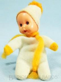 1. Brinquedos antigos - Trol - Fofolete com olhos de plástico 6,00 Cm de altura Branca e amarelo Década de 1970