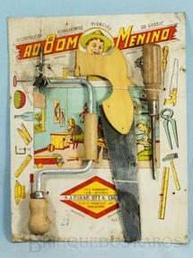 1. Brinquedos antigos - A.J.Oskar Ott e Cia Ltda - Cartão de Ferramentas Ao Bom Menino com Tupia Serrote e Chave de Fenda Década de 1950