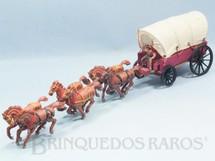 1. Brinquedos antigos - Casablanca e Gulliver - Carroça com 6 cavalos e Cocheiro Cowboy Carroceiro numerado 126 pintura fosca Gulliver primeira série Década de 1960