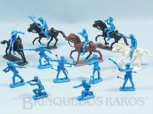 1. Brinquedos antigos - Casablanca e Gulliver - Conjunto completo de 12 Soldados da Sétima Cavalaria e 5 cavalos Série Far-West Story Atlantic Ano 1987