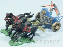 1. Brinquedos antigos - Sem identificação - Biga Romana com quatro cavalos 15,00 cm de comprimento Cópia Timpo Toys Década de 1960