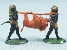 1. Brinquedos antigos - Casablanca e Gulliver - Nativos Caçadores com Leão Série Safari na África