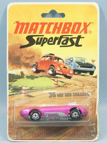 1. Brinquedos antigos - Matchbox - Hot Rod Draguar Superfast rosa Brister lacrado