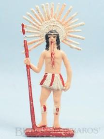 1. Brinquedos antigos - Brinqboy - Figura de Índio Brasileiro Cacique 12,00 cm de altura Década de 1960