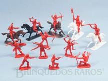 1. Brinquedos antigos - Casablanca e Gulliver - Conjunto Touro Sentado completo com 12 Índios e 5 Cavalos Série Far-West Story Atlantic Década de 1980