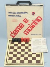 1. Brinquedos antigos - Estrela - Jogo Dama e Moinho completo com sacola Regras e pedras de madeira Tabuleiro com 27,00 x 27,00 cm Década de 1970
