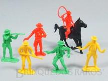 1. Brinquedos antigos - Estrela - Conjunto completo Grand Canyon com 5 Cowboys a pé e um a cavalo Ano 1985