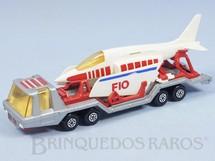 1. Brinquedos antigos - Matchbox - Aircraft Transporter Super Kings prata completo com avião Década de 1970