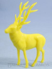 1. Brinquedos antigos - Casablanca e Gulliver - Alce de plástico amarelo Série Zoológico Década de 1970