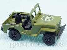 1. Brinquedos antigos - Matchbox - Armoured Jeep Willys Superfast verde oliva falta o canhão