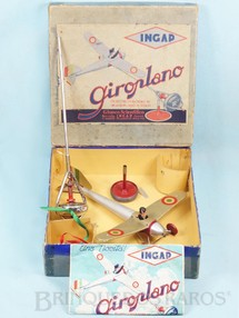 1. Brinquedos antigos - INGAP - Avião com 32,00 cm de envergadura Movimento por Giroscópio Piloto de Celuloide Década de 1930