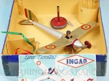 1. Brinquedos antigos - INGAP - Avião Giroplano com 32,00 cm de envergadura Movimento por Giroscópio Piloto de Celuloide Década de 1930