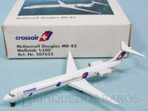 1. Brinquedos antigos - Herpa - Avião McDonnel Douglas MD-83 Crossair Swissair com 6,50 cm de envergadura Ano 1998