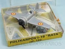 1. Brinquedos antigos - Playme - Avião Polikarpov I-16 Rata com 11,00 cm de envergadura Força Aérea Espanhola Década de 1970