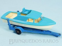 1. Brinquedos antigos - Matchbox - Boat and Trailer Black Plastic Regular Wheels