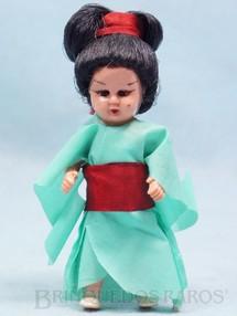 1. Brinquedos antigos - Fada Flex - Boneca com 8,00 cm de altura Kimono Japonês de tecido plástico Olhos de dormir Cabelo de Nylon Década de 1970