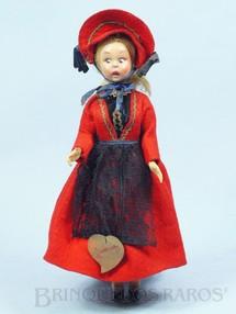 1. Brinquedos antigos - Lenci - Boneca com traje típico de Gressoney Itália com 24,00 cm de altura Rosto de massa e Roupa de Feltro Década de 1950
