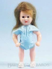 1. Brinquedos antigos - Estrela - Boneca Estrelinha com 8,00 cm de altura Roupa azul de tecido plástico Olhos pintados Cabelo Natural Ano 1957